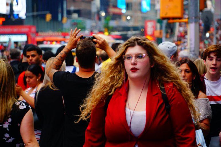 woman red coat