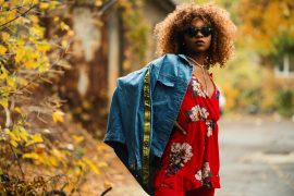 woman afro red dress