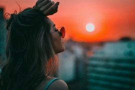 woman sunglasses sunset