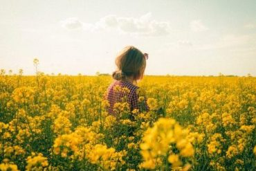 woman flower fields